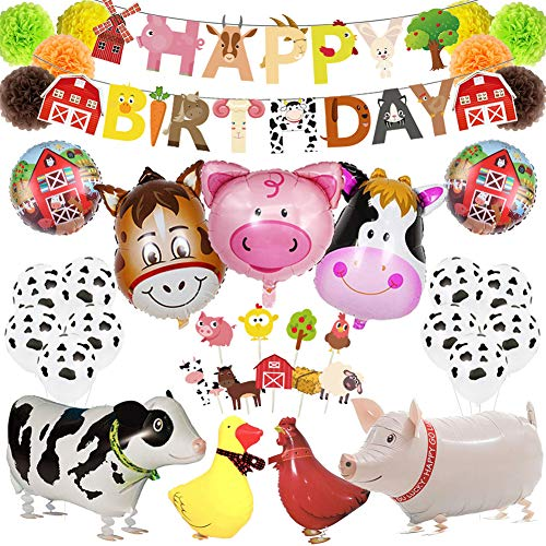 Farm Animal Party Decorations, Barnyard Birthday Party Supplies Set for Kids/Boys/Girls, Farmhouse Party Decor for Birthday, Baby Shower with Banner, Cupcake Toppers, Paper Pom Poms and Balloons