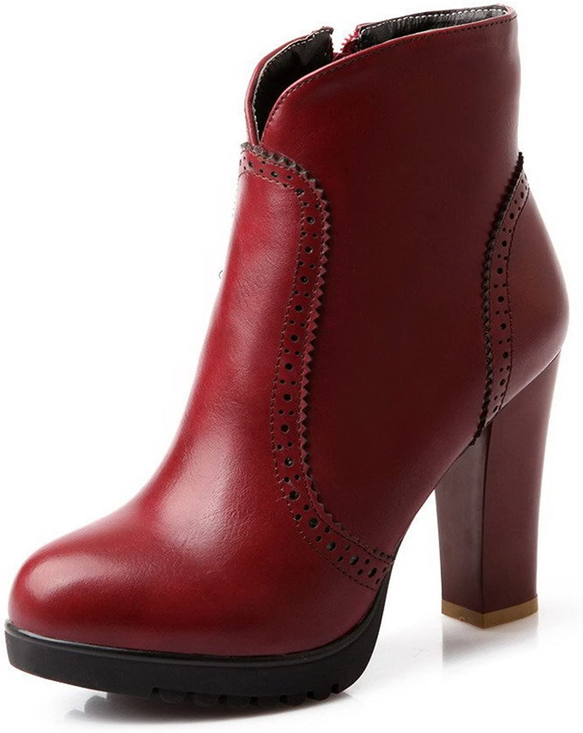 AmoonyFashion Womens Round Closed Toe High Heels Synthetic Solid Boots with Zippers, Red, 7.5 B(M) US
