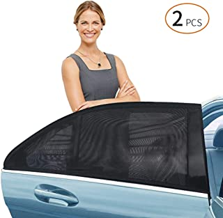 Delicacy Car Rear Side Window Sun Shade, Maximum Protect Your Baby and Kids from The Sun,UV Rays,Universal Car Mosquito Net Car Curtains Fits Most Models,Might not fit SUV's(2 Pack)