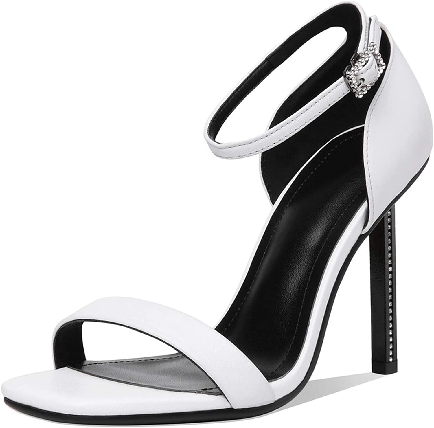 Genuine Leather shoes Women Sandals 9.5cm Stiletto high Heels Summer Sandals Sexy Solid color Dress Wedding shoes