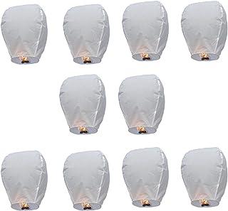 PIXNOR Oval cielo linterna linterna de Kongming chino que deseen lámparas - 10pcs (Blanco)