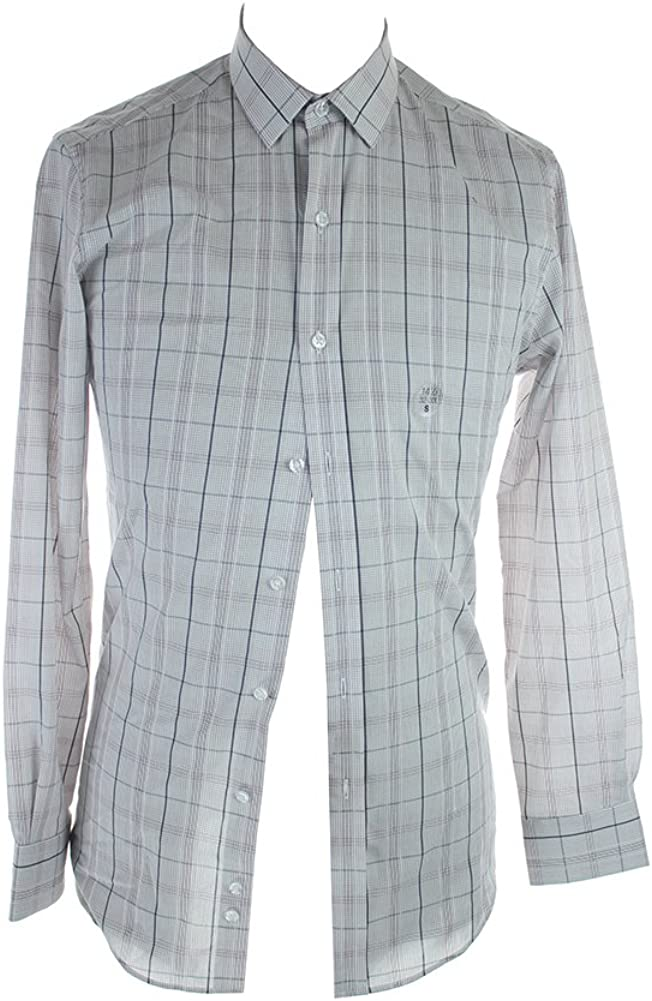 Bar III Slim-Fit Ruby Grey Plaid Dress Shirt Dress Shirt Men's Size 14.5, 32/33