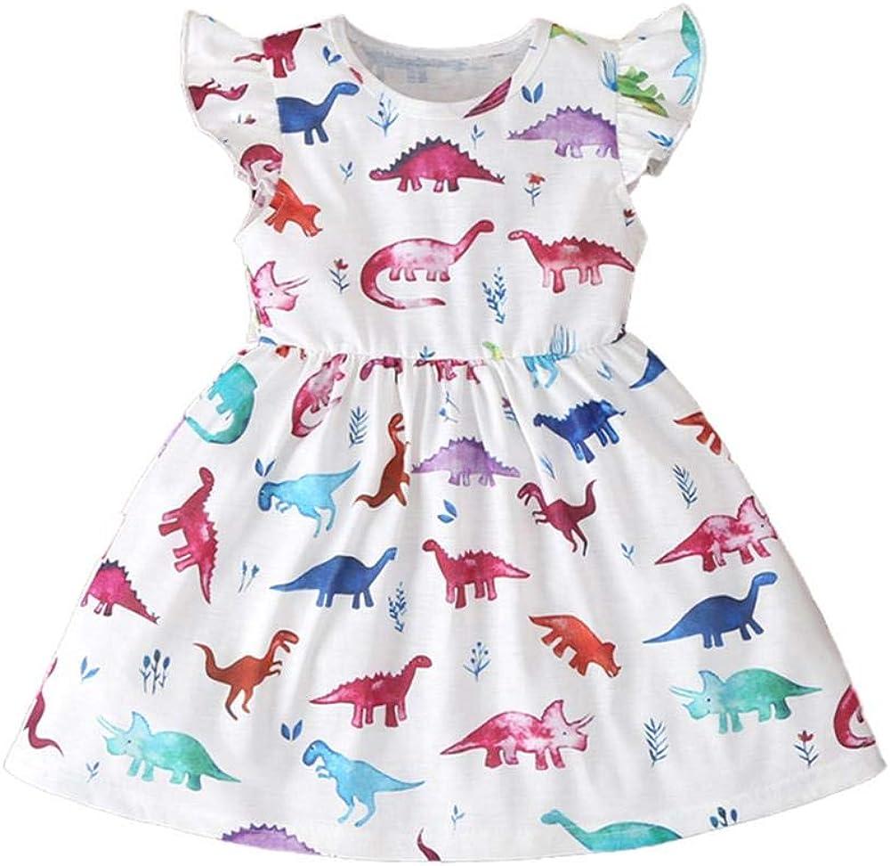 Ritatte Kids Los Angeles Mall Baby Girls Cartoon 5% OFF Ruffle Print Dinosaur Dress Fly