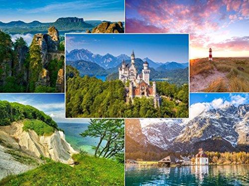 Landschaften (Set 3): 50-er Postkarten Set (5 Motive x 10 St.) ROMANTISCHES DEUTSCHLAND für Postcrossing und Vielschreiber von EDITION COLIBRI © (10721-25)