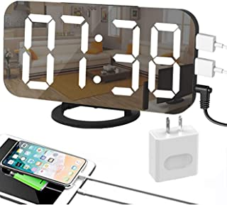 EVILTO 目覚まし時計 デジタル時計 ミラーとしてもOK 置き時計 壁掛け時計 設置簡単 アラーム・スヌーズ機能 LED大画面 輝度調節 USB給電 2台スマホ充電可 PSE認証済ACアダプター付き