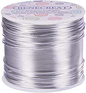 BENECREAT 12 17 18 Gauge Aluminum Wire (17 Gauge,380FT) Anodized Jewelry Craft Making Beading Floral Colored Aluminum Craft Wire - Silver