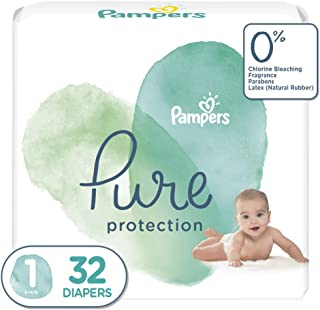 Diapers Newborn/Size 1 (8-14 lb), 32 Count - Pampers Pure Protection Disposable Baby Diapers, Jumbo Pack