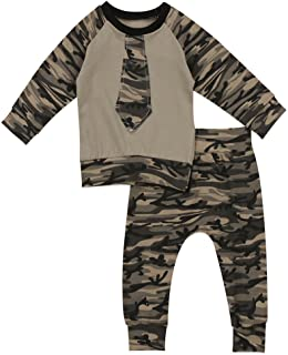 gllive Baby Boys' Family Clothes Long Sleeve Camouflage Romper Outfit Pants Set +Hat+Headband