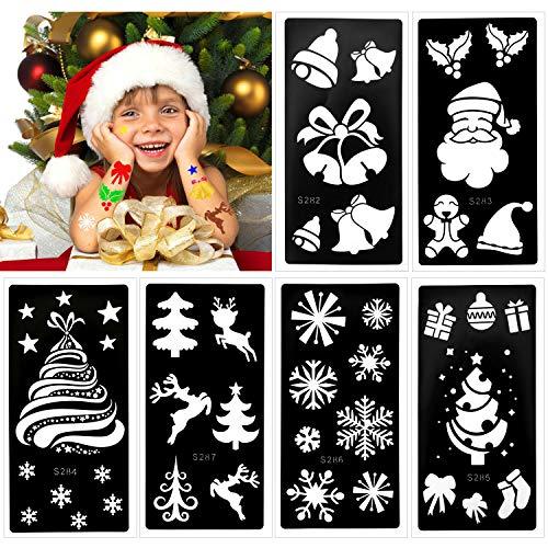 HOWAF stencil per tatuaggi natalizi per bambini, glitter tatuaggi stencil per pittura corpo viso, riutilizzabili stencil tatuaggi temporanei per bambini, fiocco di neve di Babbo Natale per bambina