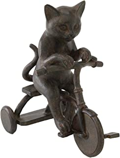 Time Concept Polyresin Liberty Cat Tricycle Figurine - Antique Style Finish, Home Décor