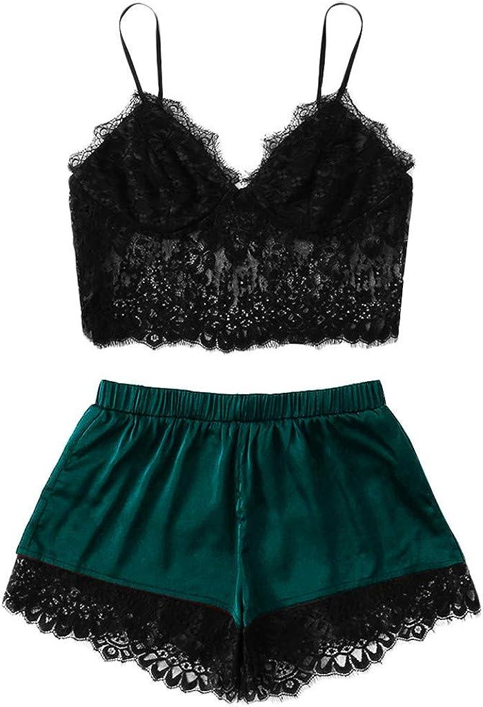 VonVonCo Sexy Two Piece Lingerie for Women Plus Size Sling Sleepwear Lingerie Lace Nightwear Underwear Set