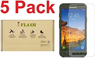 [5 Pack] iFlash Tempered Glass Screen Protector for Samsung Galaxy S7 Active (NOT S7 Model) - Crystal Clear / 2.5D Rounded Edges / 9H Hardness/Scratch Proof/Bubble Free/Oleophobic