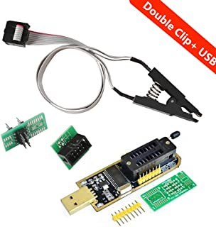 Organizer SOIC8 SOP8 Flash Chip IC Test Clips Socket Adpter Programmer BIOS + CH341A 24 25 Series EEPROM Flash BIOS USB Programmer Module (Double Clip+ USB)