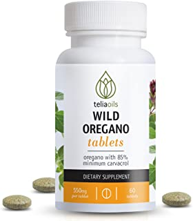 Teliaoils Organic Wild Oregano Tablets from Oregano with Over 85% Carvacrol. Top Quality. Ideal to Boost The Immune System. Powerful antioxidant