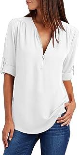 Yidarton Women's Long Sleeve V Neck Chiffon Blouses Tops Zip Up Business Shirts