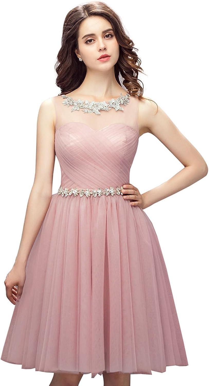 Datangep Women's Sheer Round Neck Zipper Back Tulle Mini Party Dress with Beading