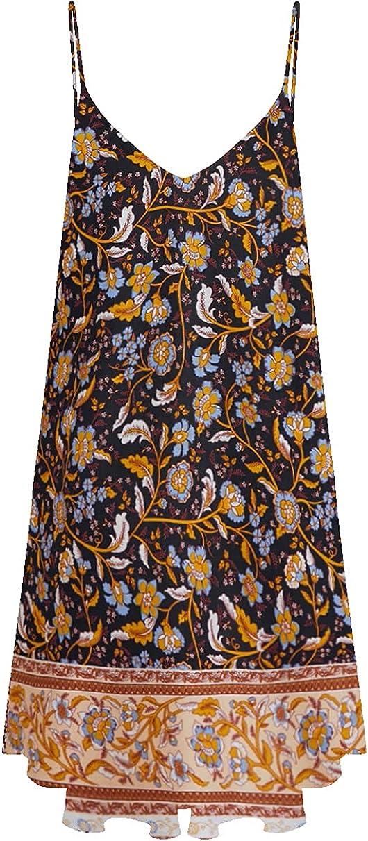 Romwe Women's Floral Print Summer Spaghetti Strap Sundress Sleeveless Beach Slip Dress