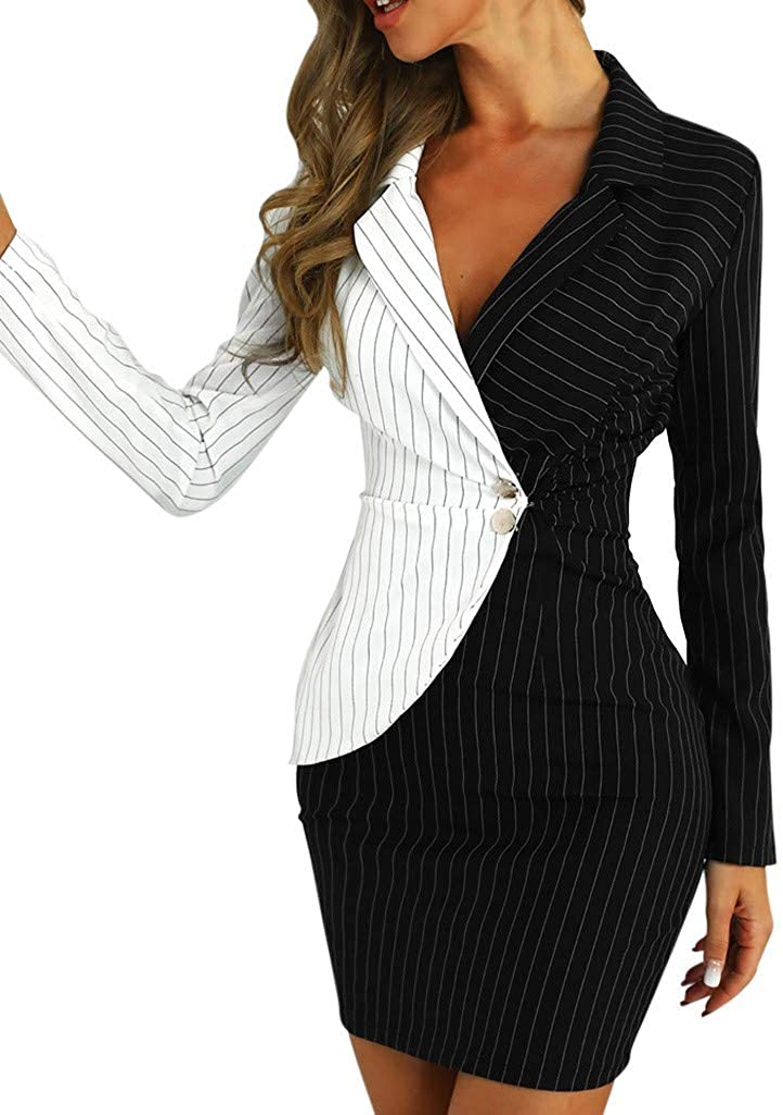 Women's Work Bodycon Blazer Dress Turn Down Neck Long Sleeve Button Striped Black White Patchwork Office Pencil Dress