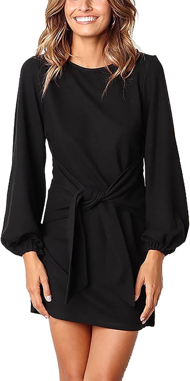 PRETTYGARDEN Women's Elegant Long Lantern Sleeve Short Dress Crewneck Tie Waist Knit Cocktail Dress