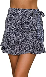 Womens Floral A Line Mini Skirts Wrap Pleated Ruffle Hem Cute Beach Short Skirts
