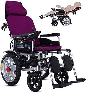 lqgpsx Sillas de Ruedas eléctricas, sillas de Ruedas eléctricas motorizadas, Respaldo y Pedal Ajustables, batería de Litio de 20 Ah incluida, Silla de Ruedas eléctrica de Doble Motor