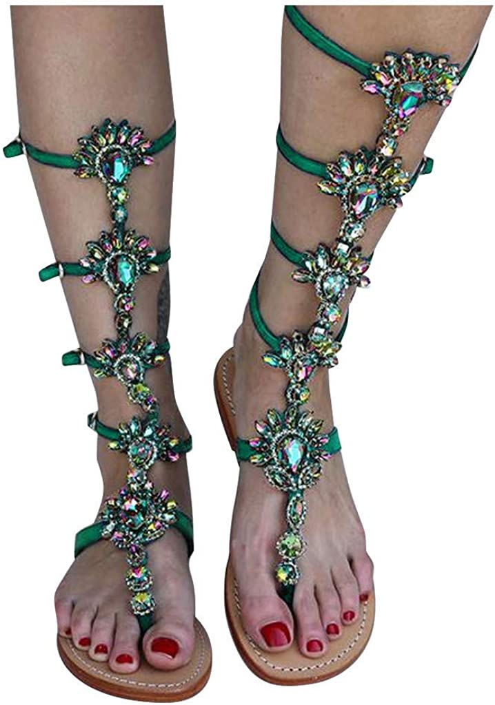 Ulanda Women Crystal Gladiator Bohemian Cheap bargain trend rank Sandals Flat Rhinestone