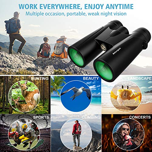 12x42 Powerful Binoculars for Adults with 18mm Large View Eyepiece & Clear Dim Light Vision - Lightweight Binoculars for Birds Watching Hunting Travel (1.1 lbs.)