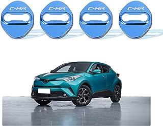 CDEFG (4 PCS Car Door Lock Cover for 2018 2019 C-HR CHR, Auto Door Lock Striker Protection Stainless Steel (Blue)
