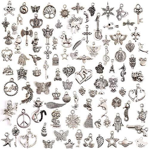 Queta DIY Colgantes del Encanto de Joyería, Accesorios de Plata de Artesanal, Diferentes Estilos, para Fabricación de Llaveros/Pulseras/Collares/Pendientes