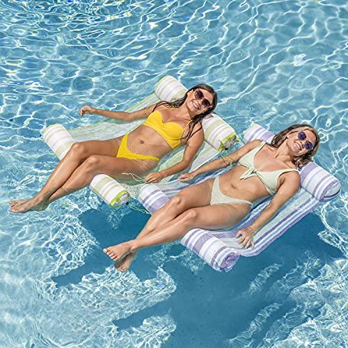 4-in-1 Hammock Inflatable Pool Float with Bonus Air Pump, Premium Swimming Pool Lounger, Multi-Purpose Pool Hammock (Saddle, Lounge Chair, Hammock, Drifter), Water Hammock Lounge