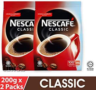 Malaysia Nescafe Classic Clasico Original Dark Roast Instant Coffee Refill Delightful Rich Aroma 7 Ounce (200 grams) 2 Soft Packs