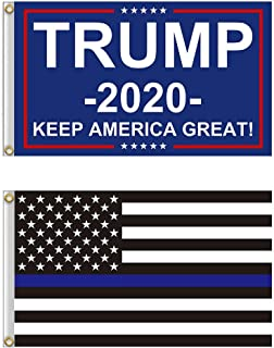 Shmbada American Donald Trump 2020 Flag and Thin Blue Line Flag Kit with Brass Grommets, Premium Polyester Double Stitched Vivid Color Anti Fading, Outdoor Indoor Yard House Porch Flag, 3x5 Ft, 2 Pack