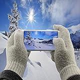 ScorpioCover Strick Touchscreen Handschuhe für Smartphones, Handys, Tablets … Winter Handschuhe Einheitsgrösse One Size grau