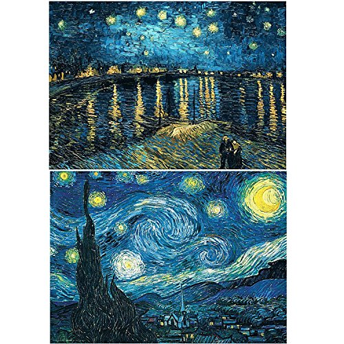2 Packs 5D DIY Diamond Painting Full Round Drill Starry Night Rhinestone Embroidery for Wall Decoration (40X50CM/16X20inch)