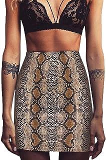 beautyjourney Falda Serpiente Minifalda de Cintura Alta con Cierre de Cremallera para Mujer Falda Lápiz Corta