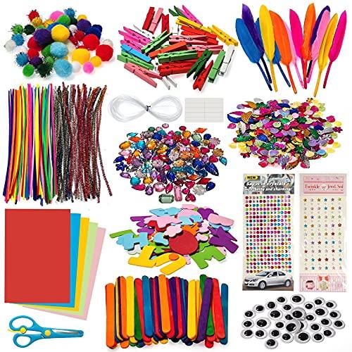 GIKERSY Juego de manualidades para niños, maletín de manualidades,1100 PCS,accesorios para manualidades, cuentas, plumas, limpiador de pipas, scrapbooking, pompones, lentejuelas, para niños pequeños