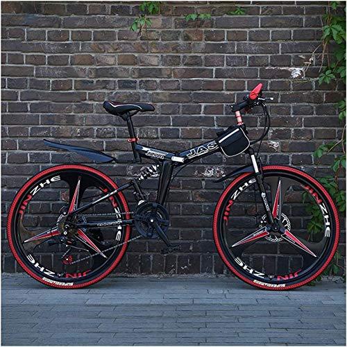 Jugendfahrrad 24/26 Zoll Rad 27SPEED Variable Geschwindigkeit Straße Fahrrad Erwachsene Faltbare Mountainbike Männer Kohlenstoffstahl Rahmen Rennfahrt (Farbe: rot 3 Messer, Größe: 27 Geschwindigkeit)