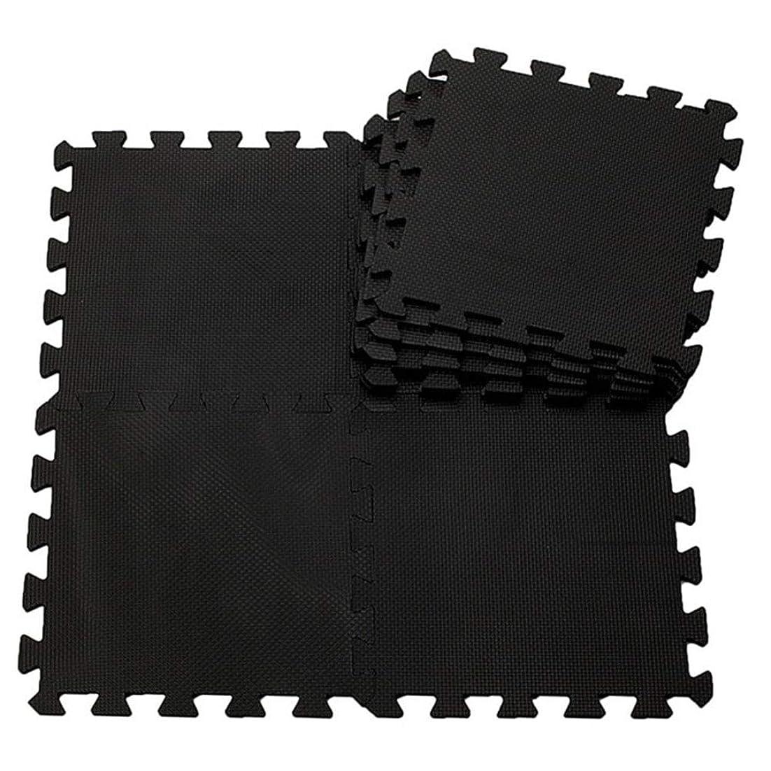 打ち上げる悲しみ絶滅可愛い 吸着 ズレないマット 防音 柔らかい 撥水 ジョイント 30×30cm 9枚組 ジョイントマット (ブラック)