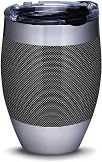 Tervis 1309325 Carbon Fiber Pattern Stainless Steel Insulated Tumbler with Clear and Black Hammer Lid, 12oz, Silver