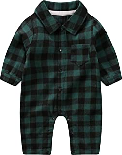 Newborn Baby Boys Girls Fashion Plaid Long Sleeve Pocket Shirt Romper Jumpsuit with Bottons Outfits