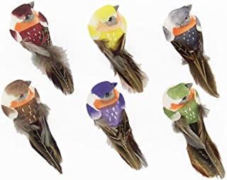 Fan-Ling Colorful Fake Sparrow Doves,Artificial Birds Model Outdoor Home Lawn Tree Decor,Garden Yard Outdoor Indoor Art Crafts,Cute Craft Decorative Ornaments for Home Table Decor (G:12PCS)