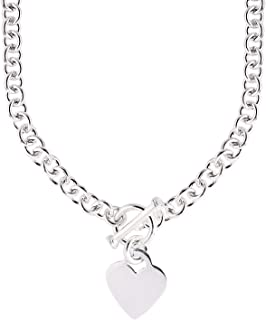 Jewelryweb Italian 925 Sterling Silver Heart Tag Disc Fancy Toggle Necklace - 18 Inch