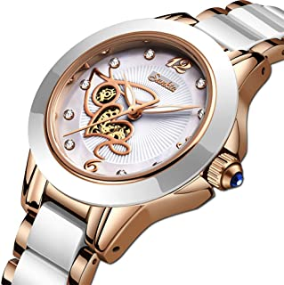 LIGE Women's Watches Fashion Casual Lightweight Analog Quartz Watch for Women Waterproof Ceramic Band Simple Elegant Ladies Watch Luxury Business Rose Gold White Steel Lady Bracelet Wristwatch