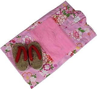 浴衣セット 女の子 ゆかた(桜?雪輪)ピンク(紅梅織り) 3点セット KWG-8 100/110/120/130cm