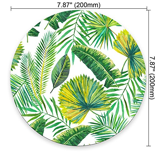Green Palm Leaves on The White Background Round Mouse pad Customized Non Slip Rubber Round Mouse pad Non Slip Rubber Mouse pad Gaming Mouse Pad Photo #3