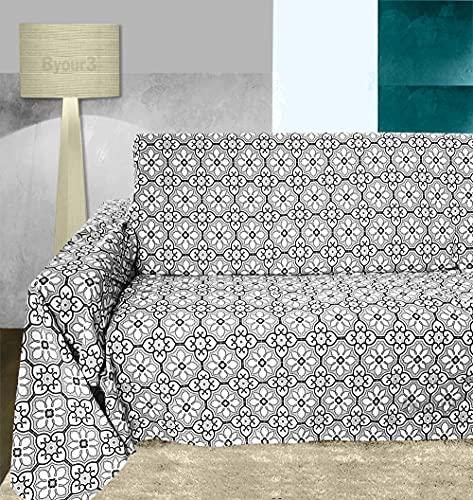 Byour3 Funda para sofá de algodón de 1, 2, 3 y 4 plazas, de 180 x 275 cm, con diseño de vitros, cristales grises, 1 plaza, 180 x 275 cm