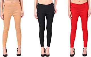 KIBA RETAIL Women's Chain Jegging Comfortable and Stretchable Casual Wear Jegging, Combo (Pack-3)_Skin/Black/Red