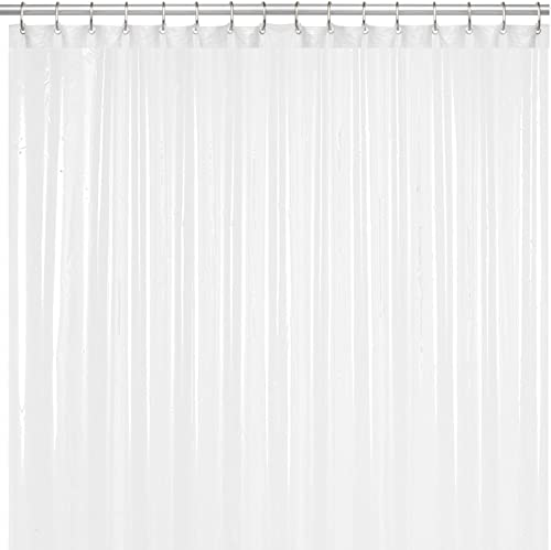 LiBa PEVA 8G Bathroom Shower Curtain Liner, 72' W x 72' H, White, 8G Heavy Duty Waterproof Shower Curtain Liner Anti-...