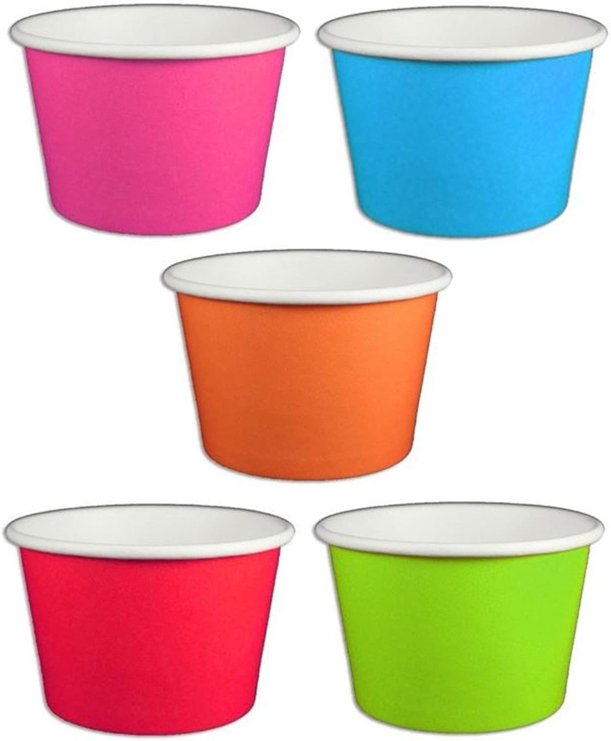 Solid Rainbow color Ice Cream Cups 8 oz  50 count by Beach Party