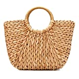 Summer Beach Bag, JOSEKO Women Straw Paper Handbag Top Handle Big Capacity Travel Tote Purse
